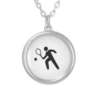 Colar Banhado A Prata Silhueta do jogador de ténis