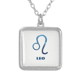 Colar Banhado A Prata Sinais azuis do zodíaco de Leo no branco