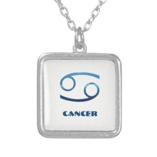 Colar Banhado A Prata Sinais azuis do zodíaco do cancer no branco