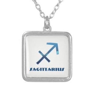 Colar Banhado A Prata Sinais azuis do zodíaco do Sagitário no branco