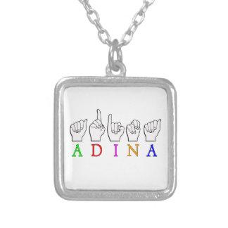 COLAR BANHADO A PRATA SINAL CONHECIDO DE ADINA FINGERSPELLED ASL