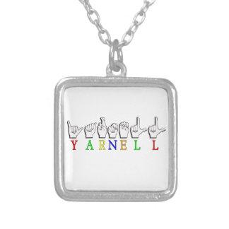 COLAR BANHADO A PRATA SINAL CONHECIDO DE YARNELL FINGERSPELLED ASL