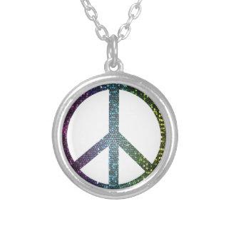 Colar Banhado A Prata sinal de paz