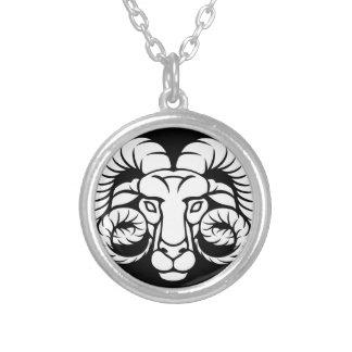 Colar Banhado A Prata Sinal do zodíaco do Aries da ram