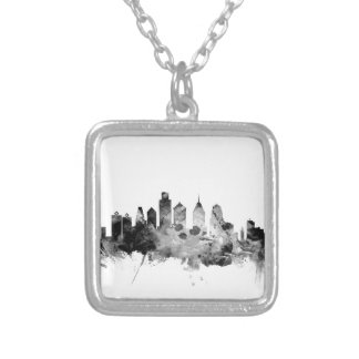 Colar Banhado A Prata Skyline de Philadelphfia Pensilvânia