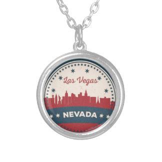 Colar Banhado A Prata Skyline retro de Las Vegas