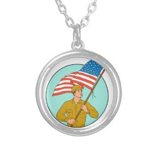 Colar Banhado A Prata Soldado americano que acena o desenho do círculo