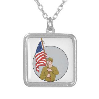 Colar Banhado A Prata Soldado americano que guardara o desenho do