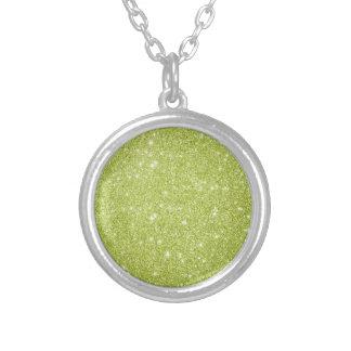 Colar Banhado A Prata Sparkles do brilho do verde limão