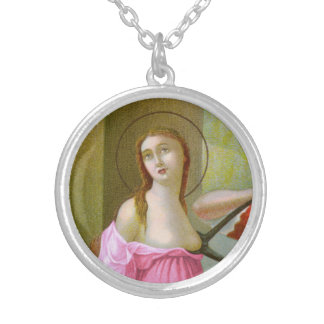 Colar Banhado A Prata St. cor-de-rosa Agatha (M 003)