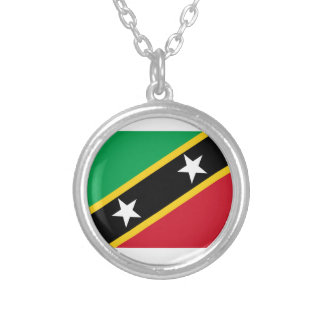 Colar Banhado A Prata St. Kitts e bandeira de Nevis