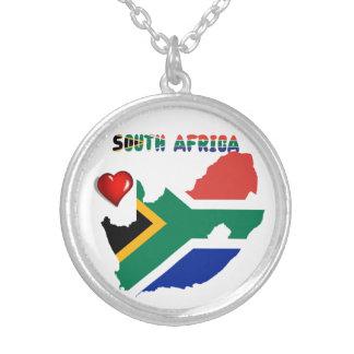 Colar Banhado A Prata Sul - bandeira africana