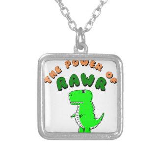Colar Banhado A Prata T-Rex o poder de RAWR