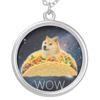 Colar Banhado A Prata Taco do Doge - doge cão-bonito do doge-shibe-doge