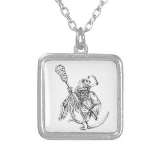 Colar Banhado A Prata Tatuagem de Pólo da defesa do Lacrosse do Ceifador
