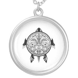 Colar Banhado A Prata Tatuagem tribal do protetor da tartaruga