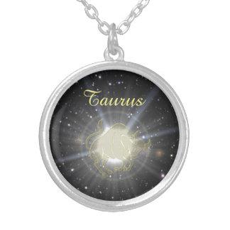 Colar Banhado A Prata Taurus brilhante
