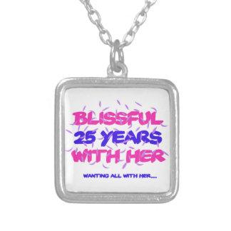 Colar Banhado A Prata Tendendo o 25o design do aniversário do casamento