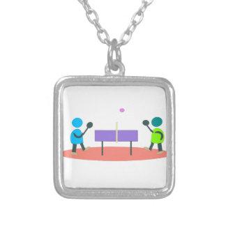 Colar Banhado A Prata ténis de mesa