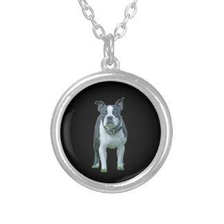 Colar Banhado A Prata Terrier 1b de Boston