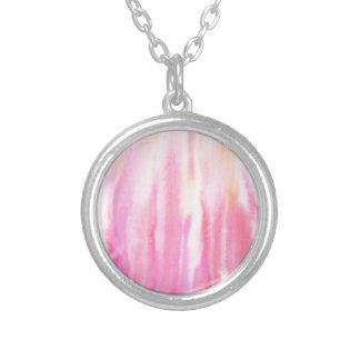 Colar Banhado A Prata Teste padrão cor-de-rosa abstrato da listra da