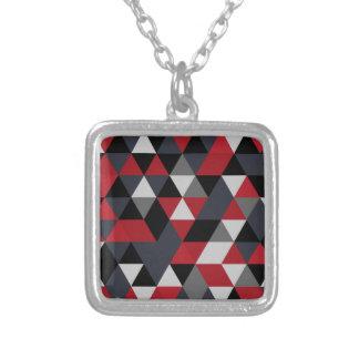 Colar Banhado A Prata Teste padrão do polígono de Minimalistic (prisma)