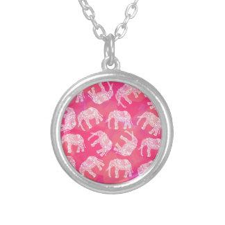 Colar Banhado A Prata teste padrão floral tribal colorido cor-de-rosa