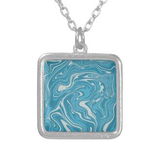 Colar Banhado A Prata Teste padrão líquido abstrato do azul