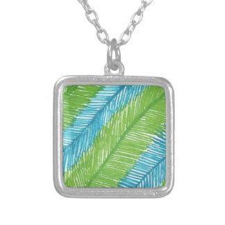 Colar Banhado A Prata Teste padrão verde e azul das folhas de palmeira