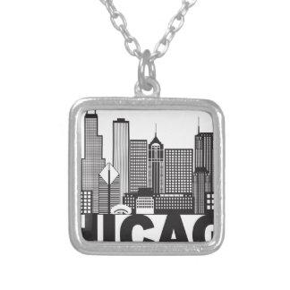Colar Banhado A Prata Texto da skyline da cidade de Chicago preto e