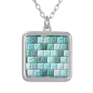 Colar Banhado A Prata Textura dos blocos de vidro