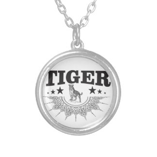 Colar Banhado A Prata tigre feliz