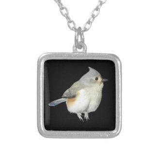 Colar Banhado A Prata Titmouse adornado no preto - pássaro