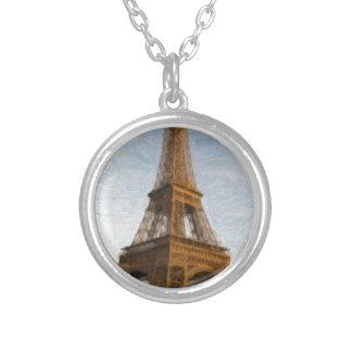 Colar Banhado A Prata torre Eiffel abstrata