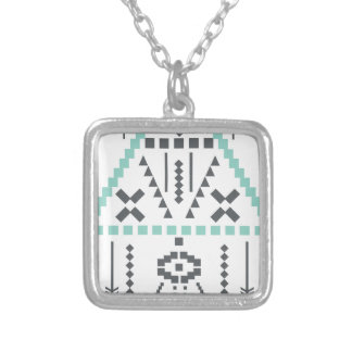 Colar Banhado A Prata Totem de Boho, símbolo étnico, Hippie, asteca,