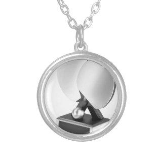 Colar Banhado A Prata Troféu de prata do ténis de mesa