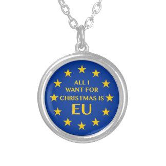 Colar Banhado A Prata Tudo que eu quero para o Natal é UE
