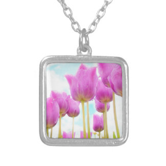 Colar Banhado A Prata tulipas