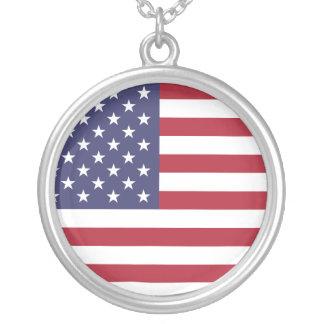 Colar Banhado A Prata U.S.A. Bandeira