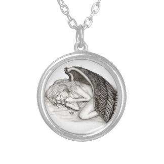 Colar Banhado A Prata Um anjo do sono, design preto e branco