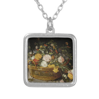 Colar Banhado A Prata Uma cesta das flores - Jan Brueghel o mais novo