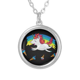 Colar Banhado A Prata Unicórnio bonito com ilustração legal do arco-íris