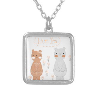 Colar Banhado A Prata Urso de ursinho bonito do casal dos namorados dos
