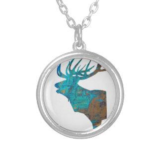 Colar Banhado A Prata veado principal dos cervos nos turquois