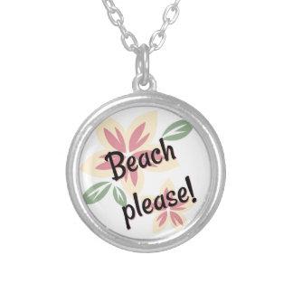 Colar Banhado A Prata Verão floral - praia por favor