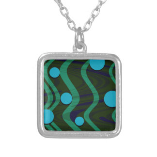Colar Banhado A Prata Verde azul marmoreado da onda do ponto