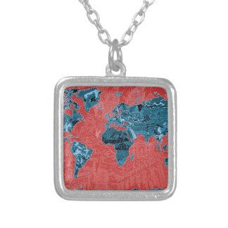 Colar Banhado A Prata vermelho 2 do mapa do mundo