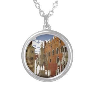 Colar Banhado A Prata Viagem de Verona do vintage