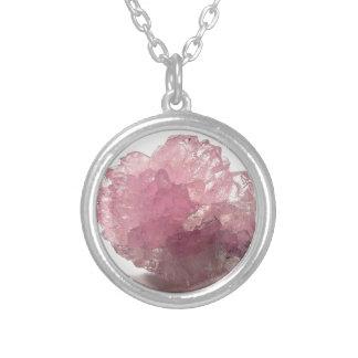 Colar Banhado A Prata Viajantes da felicidade de quartzo cor-de-rosa