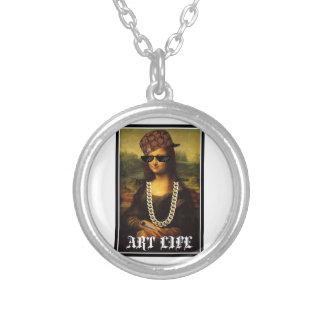 Colar Banhado A Prata Vida da arte da vida do vândalo de Mona Lisa